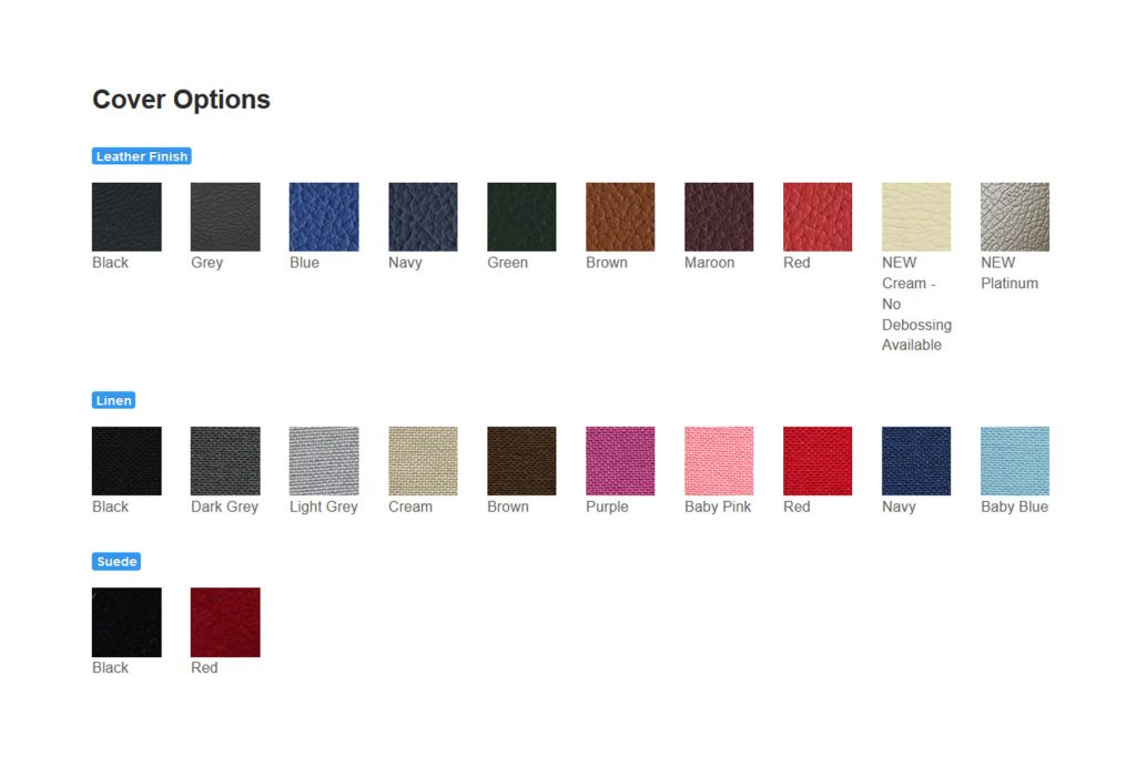 Example colour and material swatches for album covers