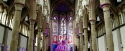 The Monastery Manchester set up for a wedding in the Great Nave